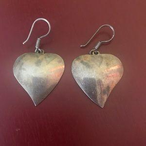 Vintage Taxco Mexican silver heart earrings